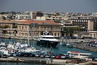 View to marina of Ortygia, Syracuse, Sicily, elevated view