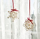 Snowflake decorations in window