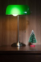 Desk lamp and miniature christmas tree