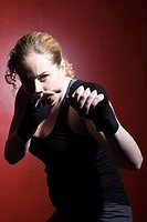 Woman in boxing stance