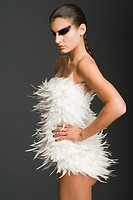Woman dressed as a swan