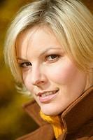 blonde woman in autumn
