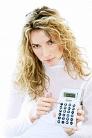 woman showing pocket calcualator