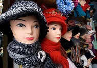 Many hats for sale in market at Yuzhno Sakhalinsk Sakhalin Island Russia