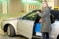 fearful woman in car park