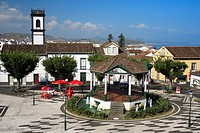 The central square in the city of Ribeira Grande  Sao Miguel island, Azores