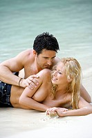 couple in love enjoying holidays at tropical beach in Thailand