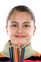 Adorable girl with many crayons of color