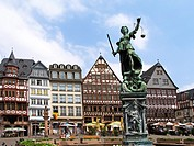 German city Frankfurt Main old town timbered house and Justitia fountain at Roemer