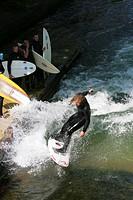Surfer on the River Isar Eisbach near Haus der Kunst Munich Bavaria Germany