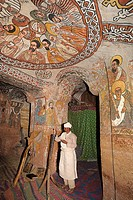 Ethiopia, Tigray, Hawsien region, Gheralta cluster, Abuna Yemata Guh church 15th century, Christian Orthodox priest
