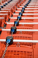Shopping carts in row, close_up
