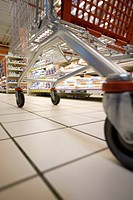 Shopping cart in supermarket, surface level view