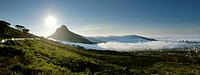 Late afternoon mist comes in over Cape Town´s city bowl, Cape Town, Western Cape Province, South Africa