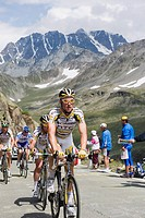 Cyclists in the Tour de France 2009, at the Grand St. Bernard Pass, Valais, Switzerland, Europe