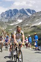 Cyclists in the Tour de France 2009, at the Grand St. Bernard Pass, Valais, Switzerland, Europe