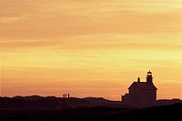 lighthouses, sunset, contrast