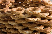 Traditional Turkish bagels with sesame seeds for sale, Istanbul, Turkey, Europe