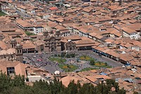 Overview of city with the Plaza de Armas in lower centre, Cuzco, Peru, South America