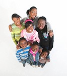 High_angle view of a group of young people against a white background, Johannesburg, Gauteng Province, South Africa