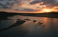 Sunset across Letaba River, Kruger National Park, Mpumalanga Province, South Africa