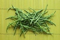 Samphire on bamboo mat