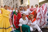 Colombian dance group wearing ´polleras´, a folkloric costume, Annual Hispanic Day Parade on 5th Avenue, New York City, Celebrating the Hispanic Herit...