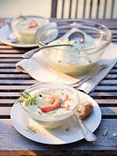Cold cucumber soup with prawns