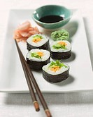 Sushi on Platter with Wasabi and Soy Sauce, Chopsticks