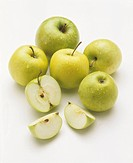 Golden Delicious & Granny Smith apples with drops of water