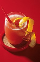 Orange punch garnished with orange peel