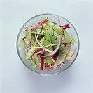 Cucumber salad with red onions