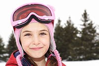 Close_up of girl wearing ski goggles, King City, Ontario