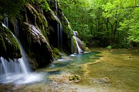 Cascade des Planches, France, Jura, waterfall, rock, cliff, tuff stone, limestone, lime depositions, moss, wood, forest,