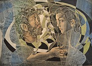 Art, Skill, painting, Hans Erni, picture, everything flows, Swiss painter, man, husband, woman, portrait, waves, lines