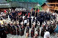 Miao ceremonial dance, Upper Langde Miao Village, Leishan County, Qiandongnan Miao and Dong Autonomous Prefecture, Guizhou Province, China