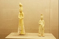 Ancient clay figurines from Tang Dynasty exhibited in Authur M. Sackler Museum of Art and Archaeology, Peking University, Beijing, China