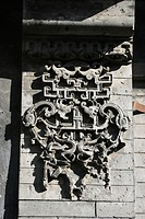 Gable board decorated with elaborate brick carving in a Hutong courtyard house, Beijing, China