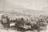 Overall views of Bogotá, Colombia circa 1880s  From a 19th century illustration