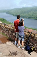 Visitors View Lake of the Clouds at Porcupine Mountains Wilderness State Park Upper Peninsula Michigan