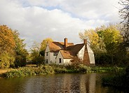 Willy Lot´s House Cottage, Flatford Mill, Suffolk, England  An ancient farmhouse made famous by a painting by artist John Constable