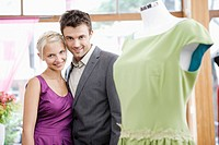 Couple shopping for dress