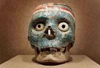 Aztec Human skull covered with jade at the National Museum of Anthropology in Mexico City