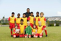 Group photo of the U11 junior soccer team FC Rygersdal, Cape Town, South Africa, Africa