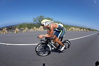 The Australian professional triathlete Chris McCormack on the bike course of Ironman Triathlon World Championship in Kailua_Kona, Hawaii, USA