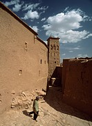 Man walking through the alleys of Ait, Benhaddou,Morocco