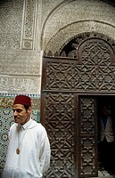 Tour guide inside the Medersa., Fez, Morocco