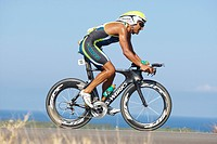 The Australian professional triathlete Chris Mc Cormack on the bike course of Ironman Triathlon World Championship in Kona, Hawaii, USA