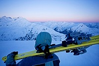 Ski touring, looking over the snowy mountain peaks shortly before sunrise, Verwall Alps, North Tyrol, Austria, Europe