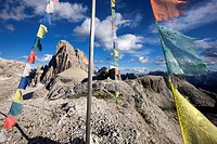 Prayer flags, Paternkofel mountain, Sexten Dolomites, Alto Adige, Italy, Europe